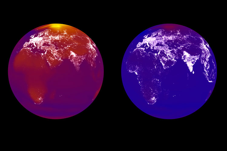 The global economic forecast based on climate change as reported by Hsiang, Burke & Miguel in Nature are represented in the simulation above of Earth's future night lights, as seen from space, since richer economies tend to glow brighter. (Image by Hsiang, Burke and Miguel.)