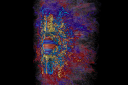 Supercomputer visualization of the toroidal magnetic field in a collapsed, massive star, showing how in a span of 10 milliseconds the rapid differential rotation revs up the stars magnetic field to a million billion times that of our sun (yellow is positive, light blue is negative). Red and blue represent weaker positive and negative magnetic fields, respectively. Robert R. Sisneros (NCSA) and Philipp Mösta.