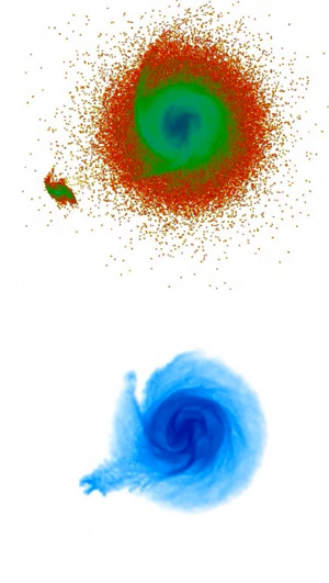 stars and gas in Milky Way shortly after interaction with dwarf galaxy