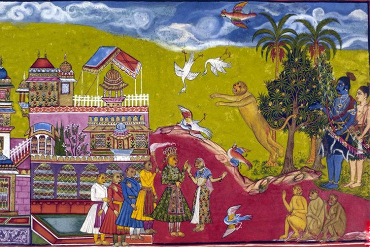 This illustration in a 17th-century copy of the Ramayana, part of a British Library collection, shows a scene in which the birds fall out of the sky in fright, while Rama and Laksmana and the other monkeys look on from the right. (Image courtesy of Wikimedia Commons.)