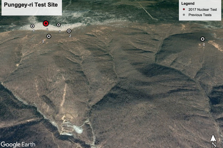 six bomb tests on Mt. Mantap, North Korea