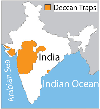 map of India showing lava flows