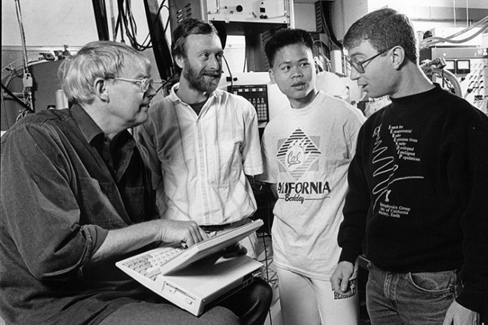 Bowyer with students in 1992