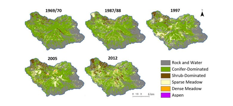 An image shows a series of maps of Illilouette basin that indicate what type of plant cover dominates. Over time, conifer-dominated forest is replaced with patches of meadow, shrubs and aspen.
