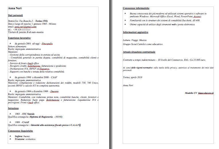 Modelli Curriculum Vitae Con Esempi Da Compilare Cv Adatti