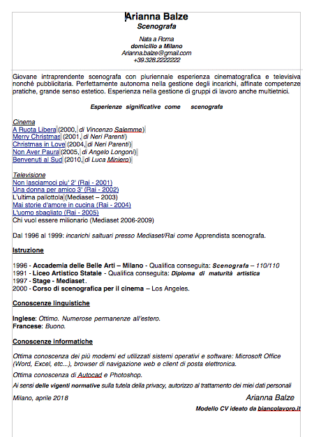 curriculum vitae pdf da compilare e scaricare