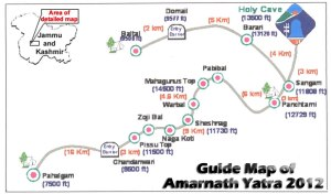 Route of Amarnath Yatra