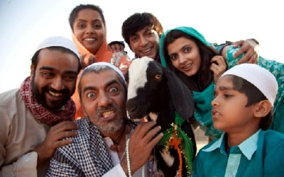 Shahrukh Goat with the actors of Yeh hai Bakrapur Movie