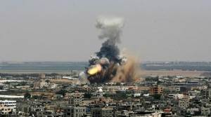 Explosion in Gaza after Missiles Strike in Operation Protective Edge by Israel
