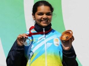 Malaika Goel after winning Silver at 2014 Commonwealth Games