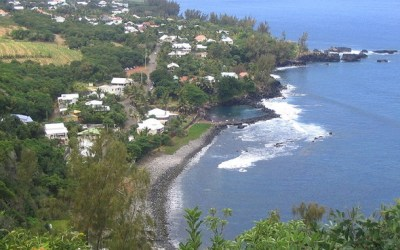 The Beach at famous Manapany Village of Reunion Island
