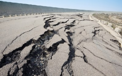 Earthquake damaged roads