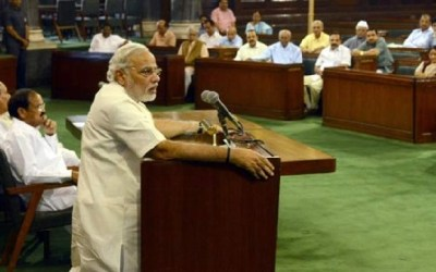 PM Narendra Modi speaking in Parliament