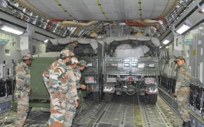 Indian army trucks being sent to Nepal as part of relief efforts