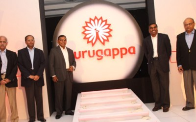 Murugappa Group Chairman A Vellayan unveiling its logo in 2010