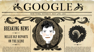 Nellie Bly on the Homepage of Google