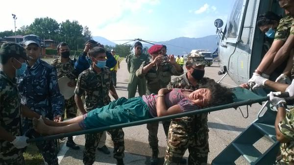 Casualties transported by Indian Army as part of Relief Operation in Nepal