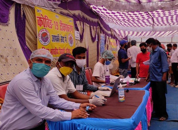 Vaccination in progress in a camp in Bihar