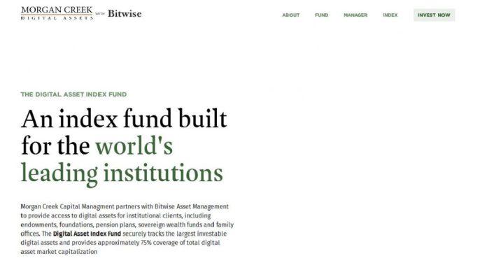 Morgan Creek Launches Digital Asset Index Fund For Institutional Investors