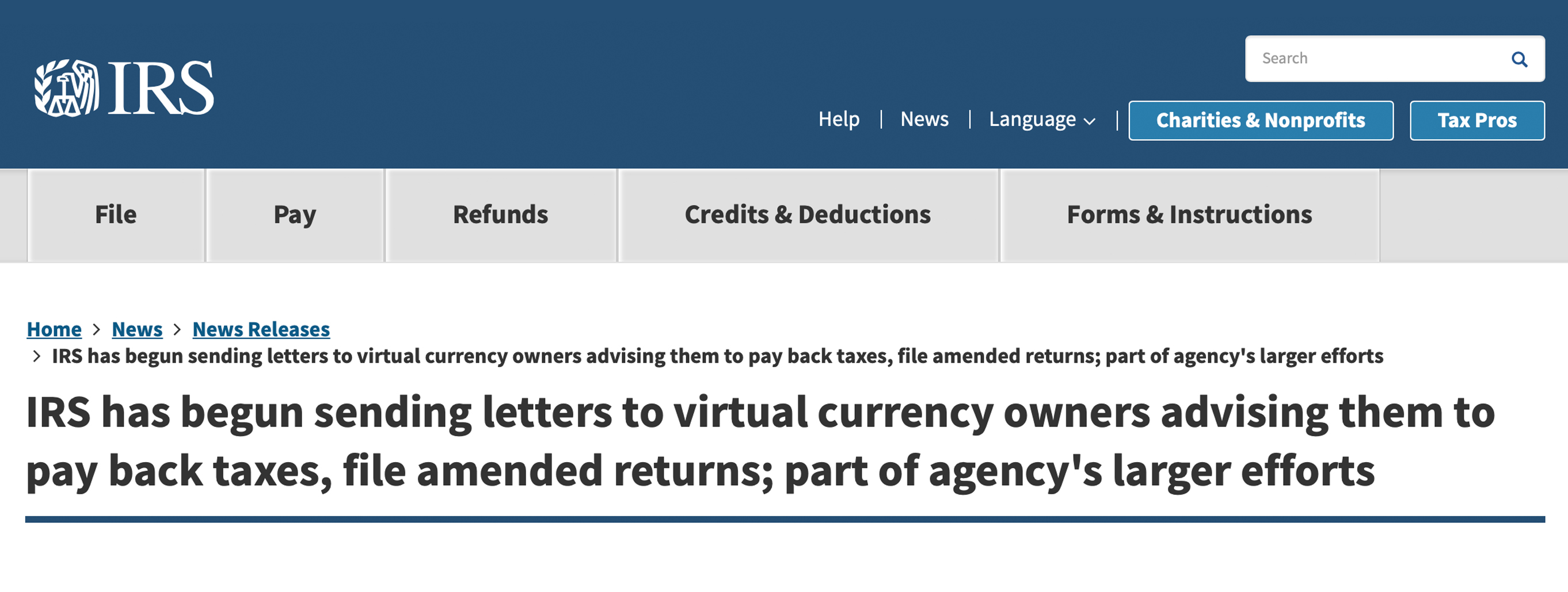 10,000 American Cryptocurrency Owners Will Receive Warning Letters From the IRS