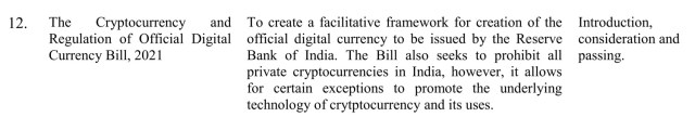 The Indian Parliament will consider a bill to ban cryptocurrencies while creating a digital rupee at this session