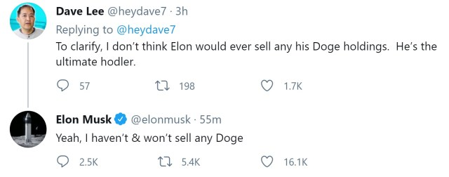 Elon Musk stated that he would not sell any Dogecoins and admitted that he is the