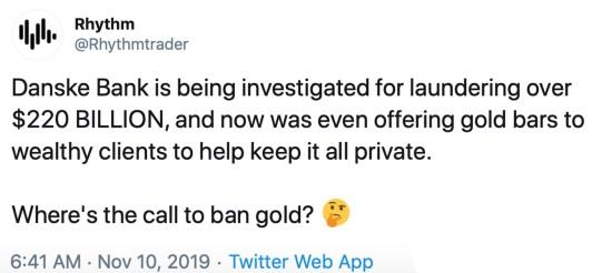 Danske Bank Caught Using Gold Bullion to Launder Illicit Funds