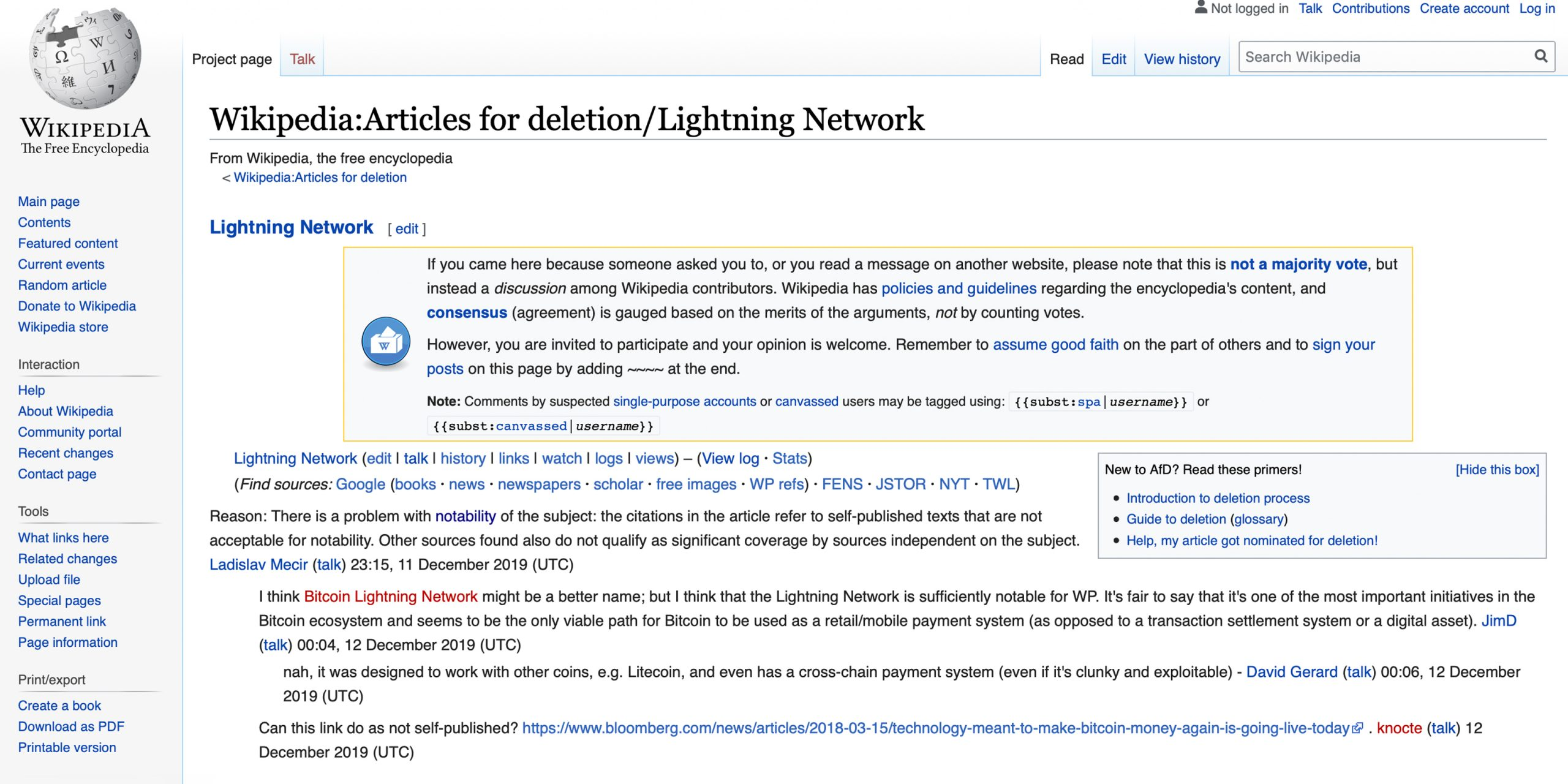 Lightning Network Wiki Page Faces Removal for Lack of Notability