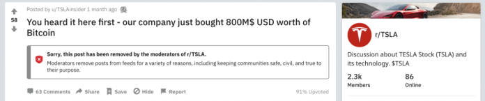 Reddit Post Reporting Tesla's Bitcoin Purchase From a Month Ago Was a Hoax