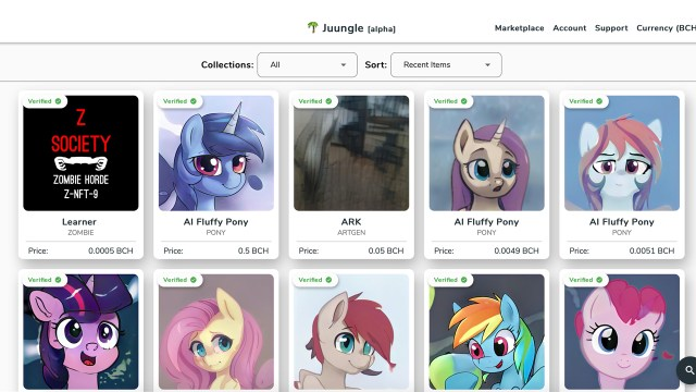 Welcome to Juungle: a Bitcoin Cash NFT market that allows anyone to buy and sell unique SLP collectibles