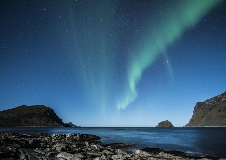 Gletscher und Polarlicht