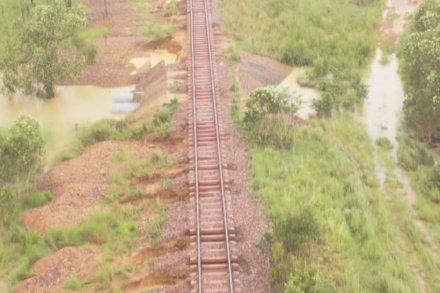 Damaged rail line near Adelaide River, NT