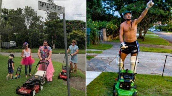 A group of hunk men mow the lawn in Bucun: But they wear ballet skirts and evening dresses? The reason behind it is...