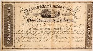 Stock certificate for the Eureka Quartz Mining Company