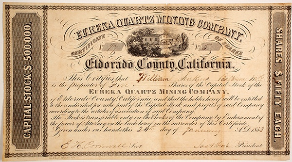 Stock certificate for the Eureka Quartz Mining Company