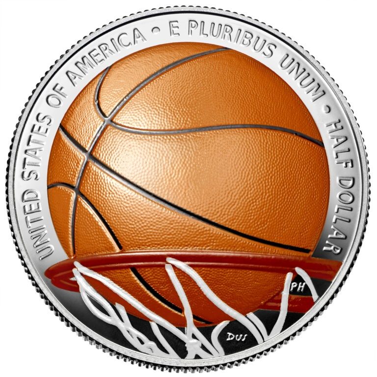 Colorized Basketball Hall of Fame Half Dollar Clad Coin