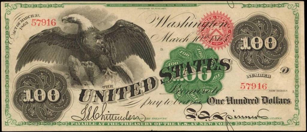 1863 U.S. $100 banknote
