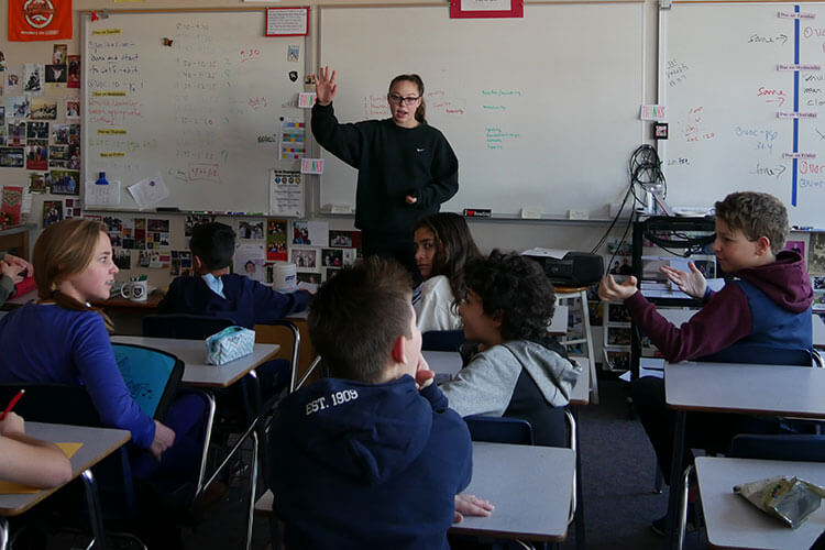 As a member of the Eighth Grade Leadership Team, Morgan Romine mentors sixth grade students.