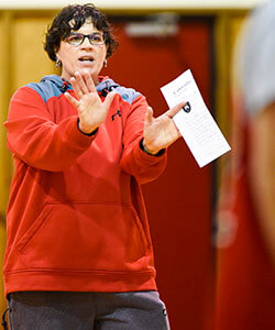 Coach Cyndi Graziano plans every practice like a classroom lesson.