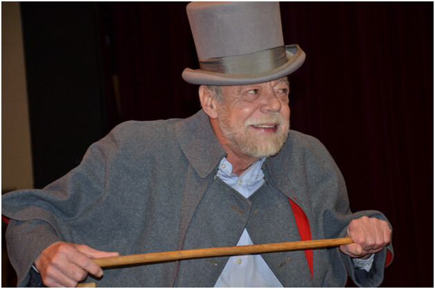 Richard Kelly plays Scrooge in the Faculty Follies.