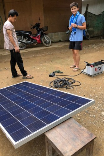 Liu used his courses in engineering to help install solar panels on schools at the refugee camp.