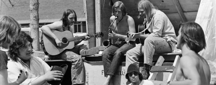 Chris playing on the CU campus at Woodstock West in 1970.