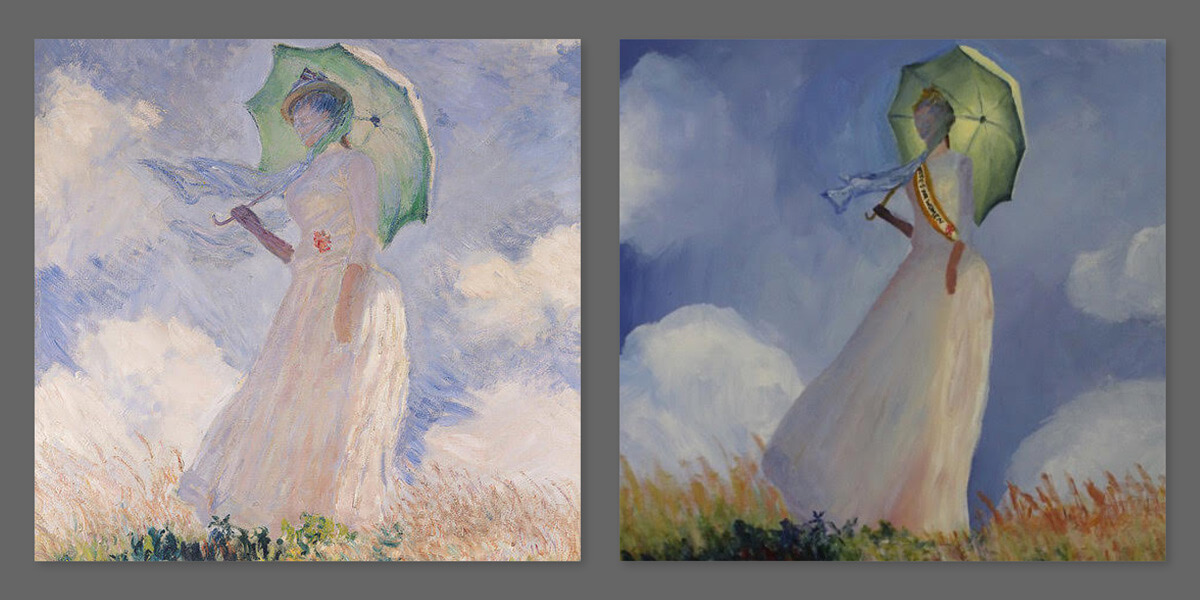 "Bain created a replica of Monet's ""Woman with a Parasol"" where the woman now is wearing a sash that says, ""Votes for Women."""