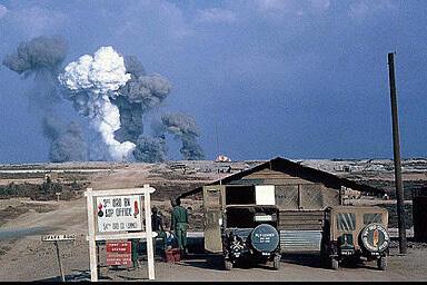 ammunition dump at Long Binh explodes