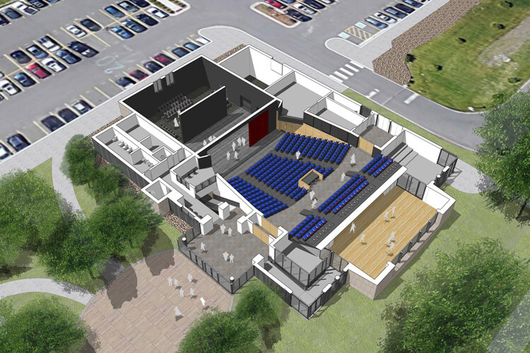 An aerial view of the new Performing Arts Center