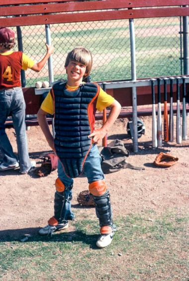 Dr. Mike Davis as a catcher on his Middle School baseball team.