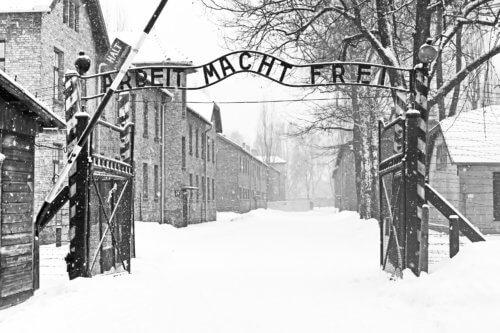 Sing Arbeit macht frei (Work liberates) in Auschwitz II Birkenau concentration camp located in the west of Krakow, Poland