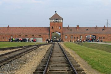 Rail entrance to concentration camp at Auschwitz Birkenau KZ, Poland.
