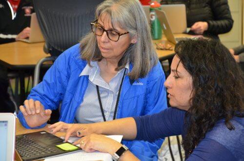 CA teachers practice using Zoom to present classwork online.