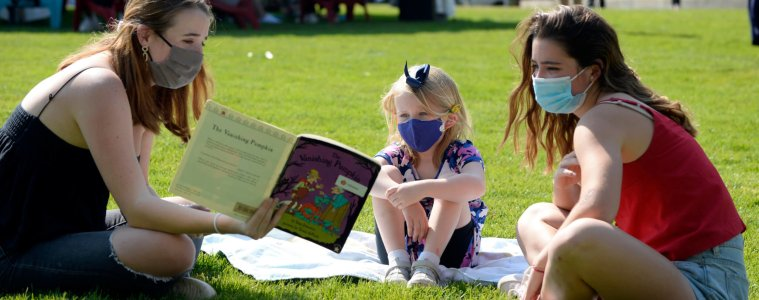 Seniors read to their Kindergarten Buddy.